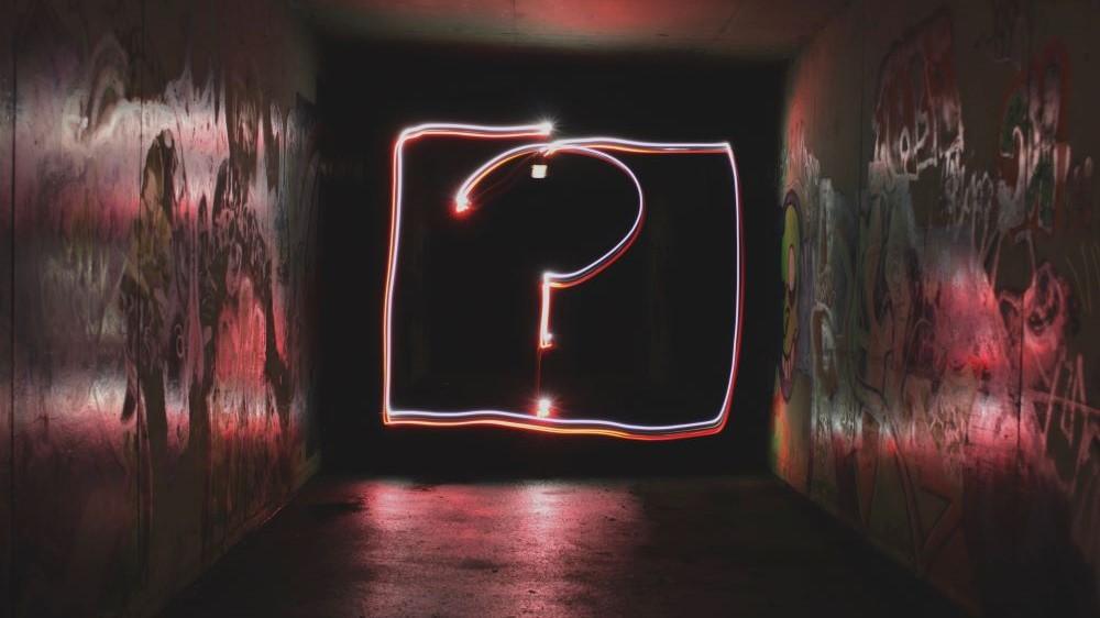 Leuchtendes LED Fragezeichen