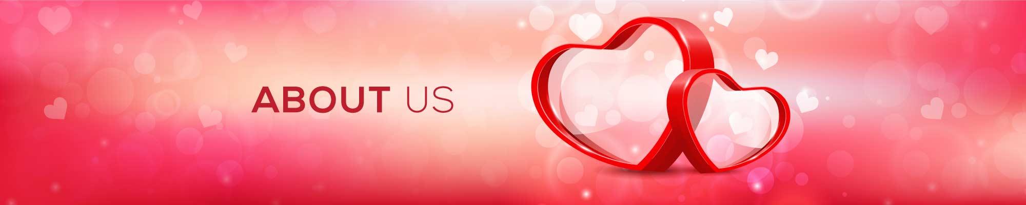 About Us Schriftzug und 2 Herzen