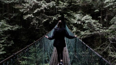Frau auf Brücke mit Blick in den Dschungel