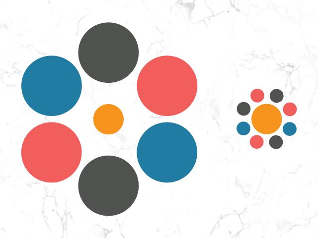 Wahrnehmung - Visuelle Täuschung veranschaulicht durch abgebildete Kreise
