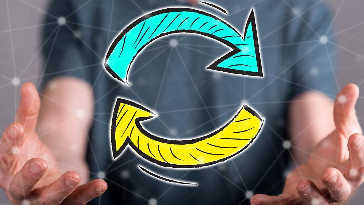 Kreis aus zwei Pfeilen - Manipulation durch Wiederholung