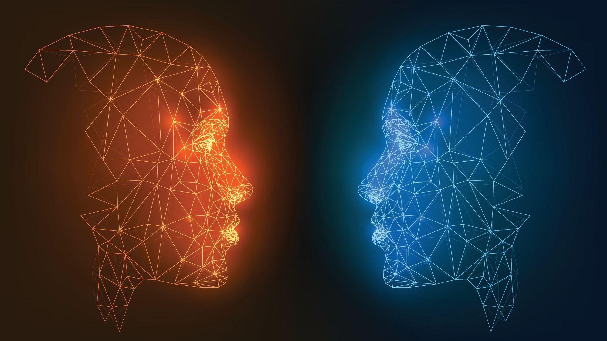 Links ein rotes Gesicht und rechts ein blaues Gesicht. Beide sind zueinander gerichtet. Symbolisch für eine Paarbeziehung.